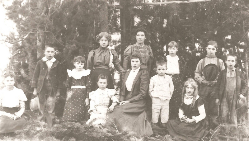 "Class Photo in ""Pioneer Day"" Clothes about 1897"
